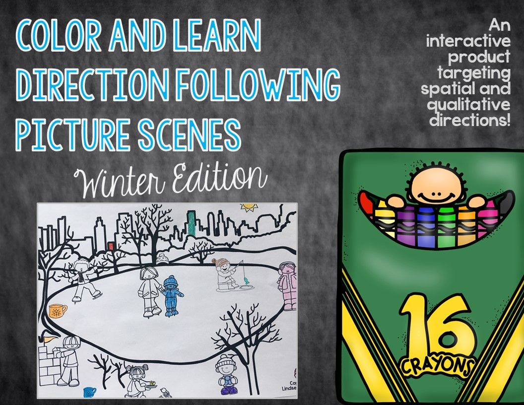 Color And Learn Direction Following Picture Scenes Winter