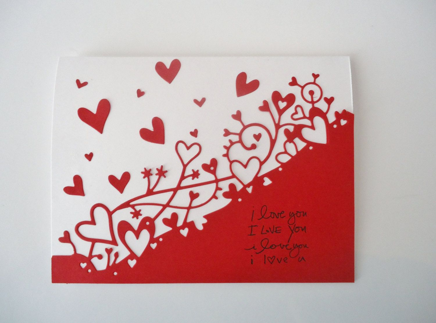 Love You Valentines Card Handmade Greeting Card Red Hearts I