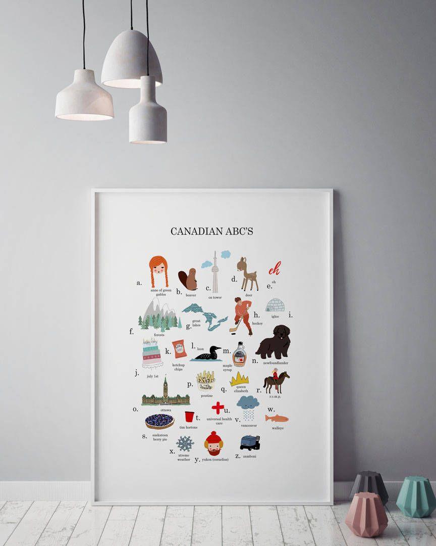 Canada wall art canada abc printable alphabet wall art