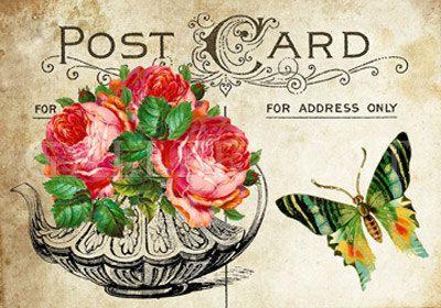 Teekannen und Rosen Digital Collage Sheet Download von GalleryCat
