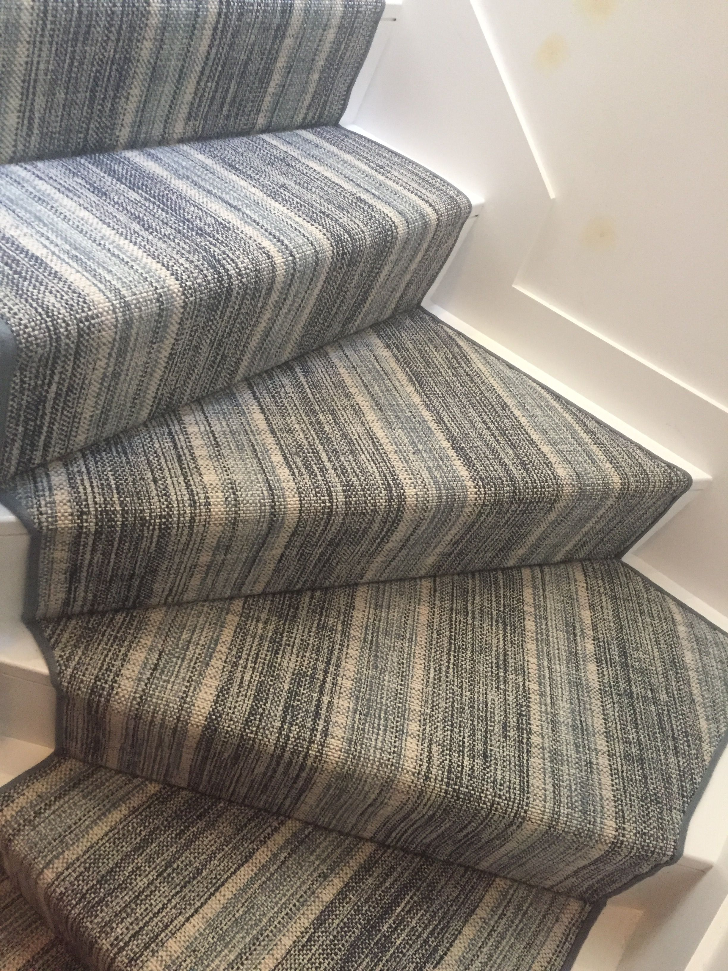 Family Room Bellbridge Linen Stripe Navy Denim Stair Runner Carpet Carpet Staircase Carpet Stairs
