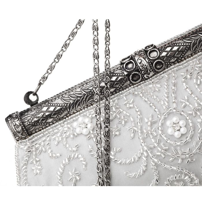 MOYNA Bags Antique Frame Evening Silk Clutch with Beading ($265 ...