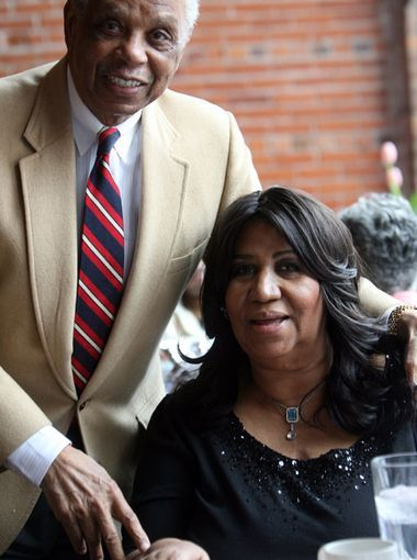 Judge Damon Keith  poses with  Aretha Franklin at her