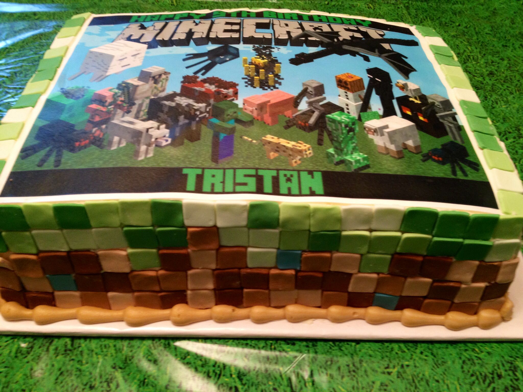Minecraft Cake Using Fondant For Pixelated Squares And