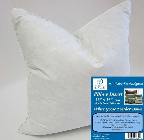 26X26 Pillow Insert 26 X 26 72Oz Pillow Insert 9010 White Goose Feather Down 2 Oversized