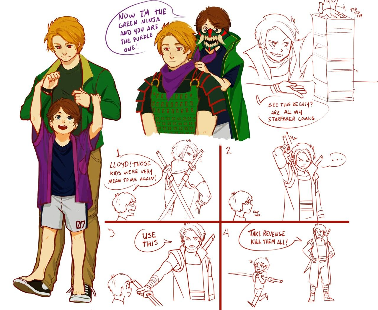 Erraday - Ninjago doodles >>>>> Awwwwww, Lloyd's going to be a great father when he grows up (if he ever finds a mother ;) )