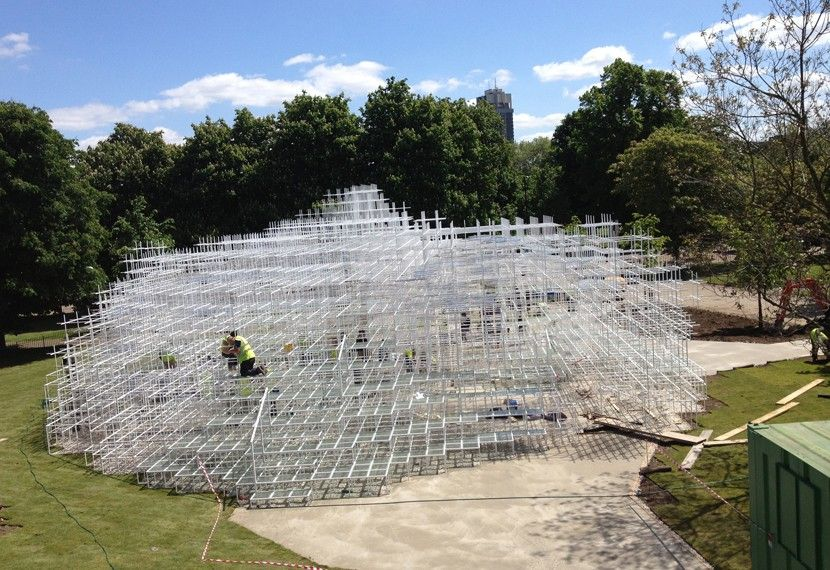 Nearing completion: Sou Fujimoto's beautiful cloud of steel. http://www.stageone.co.uk/projects/serpentine-gallery-pavilion-2013/