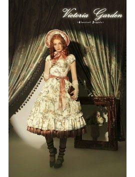 Classical Puppets ~Victoria Garden~ Classic Lolita OP + Petticoat Special Set