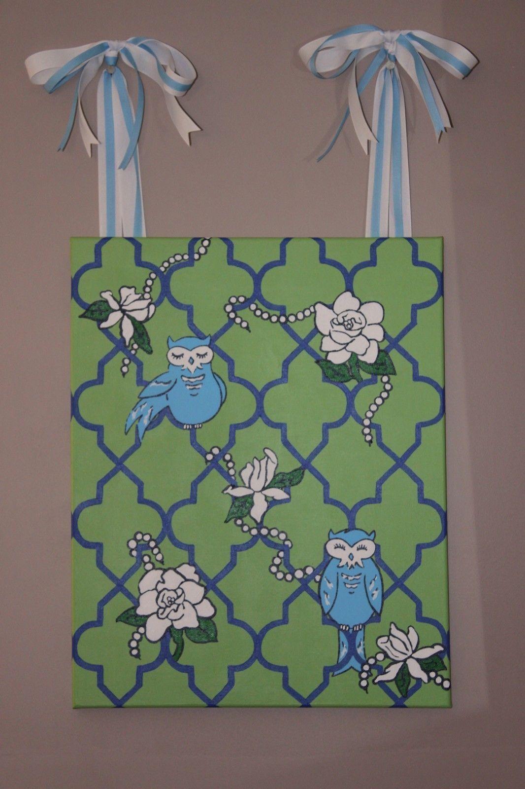 Southern preppy whimsical owl gardenia flower green u blue