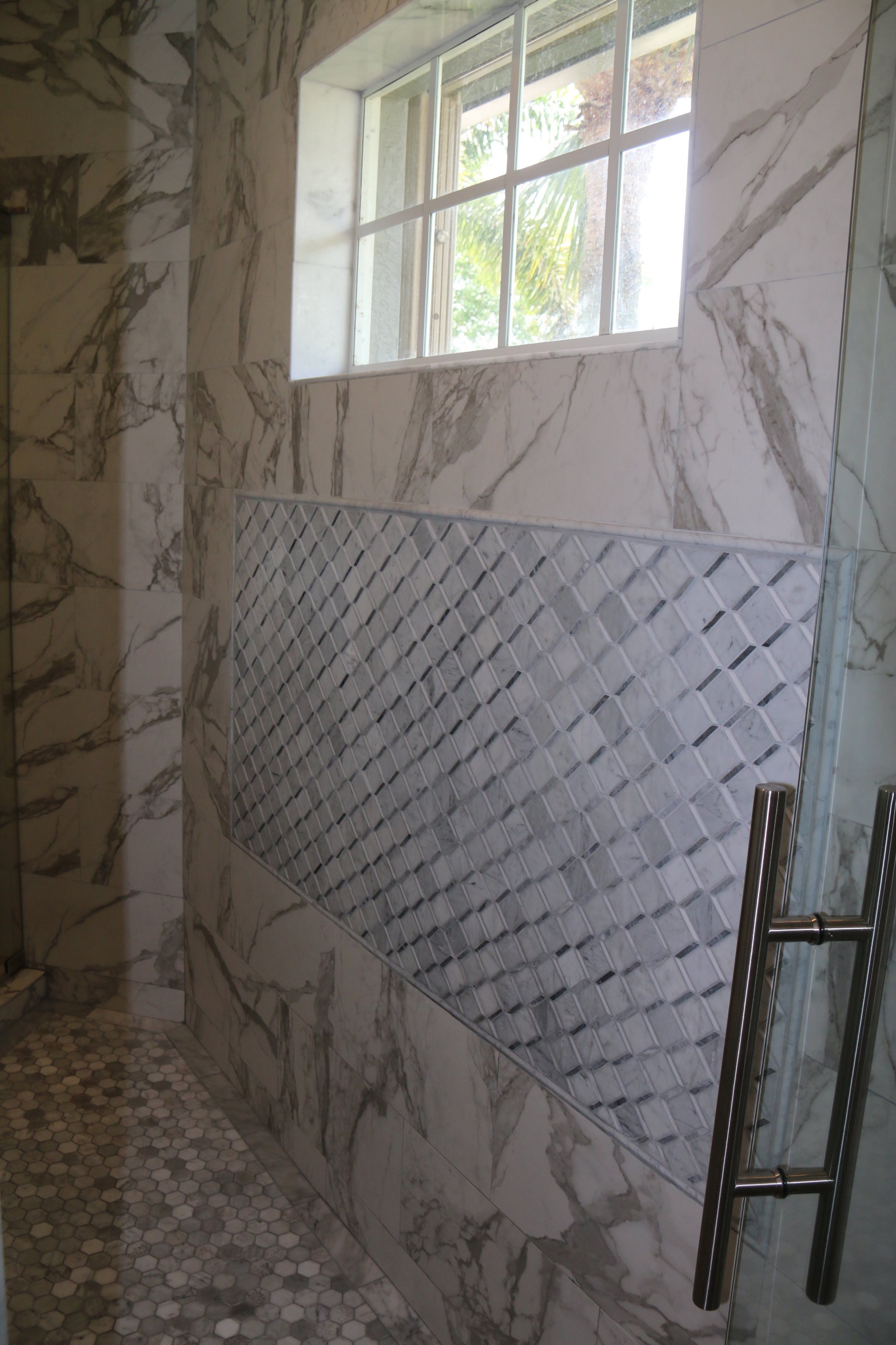 Carrara Thassos Cube Marble Mosaic Floor Decor In 2020 Marble Mosaic Marble Mosaic Floor Hall Decor
