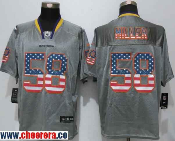 dd138899393 Men s Denver Broncos  58 Von Miller Gray USA Flag Fashion Stitched NFL Nike  Elite Jersey