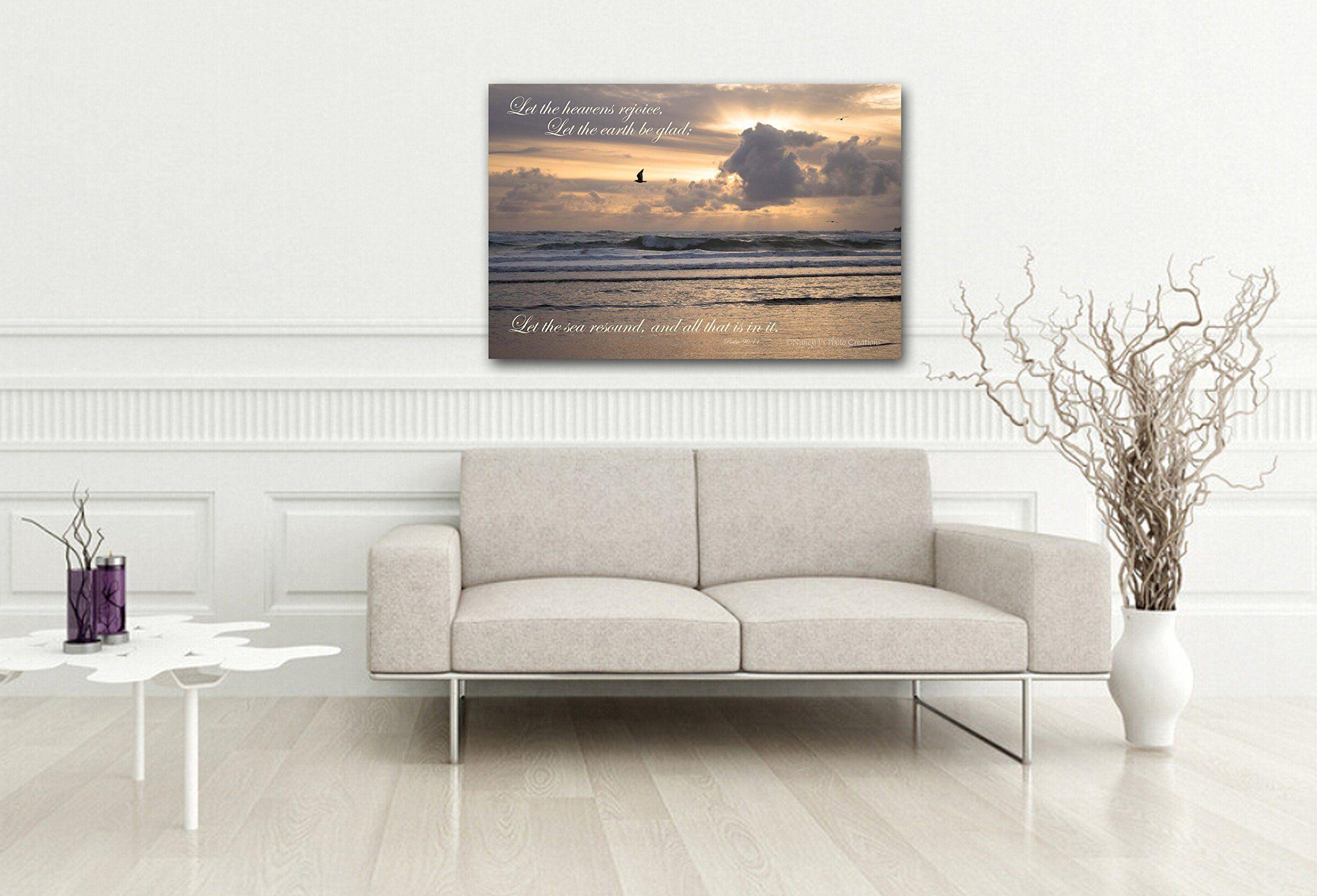 Ocean photography on canvas unframed christian wall art peach blue