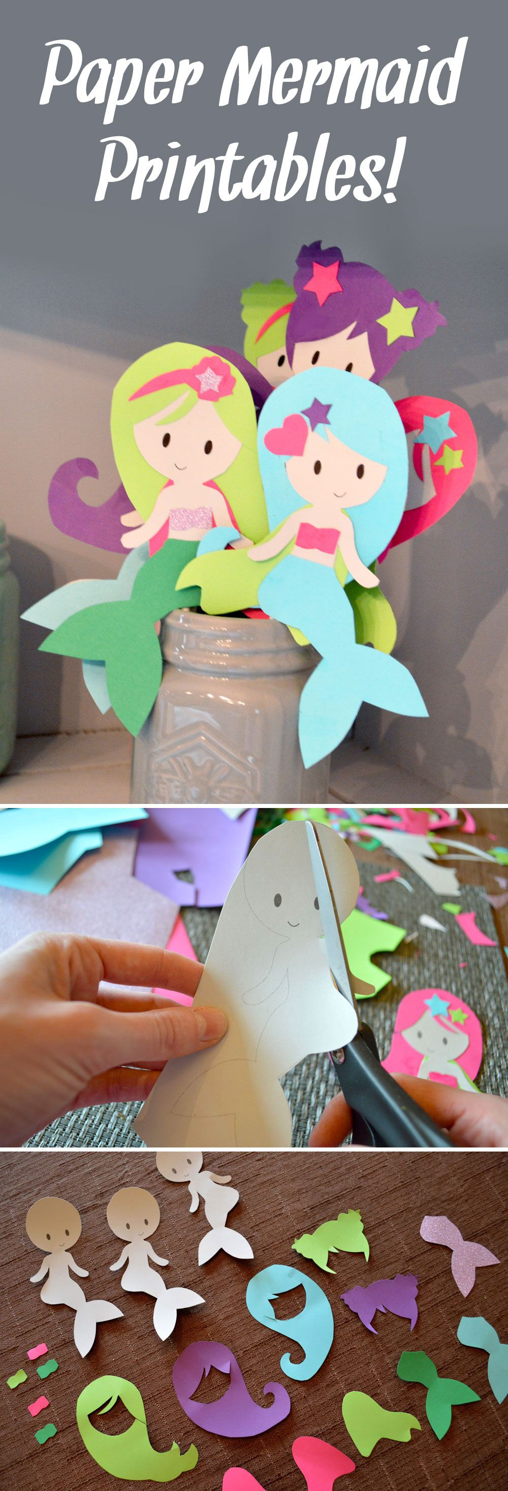 Easily make colorful paper mermaids with our cute printables!