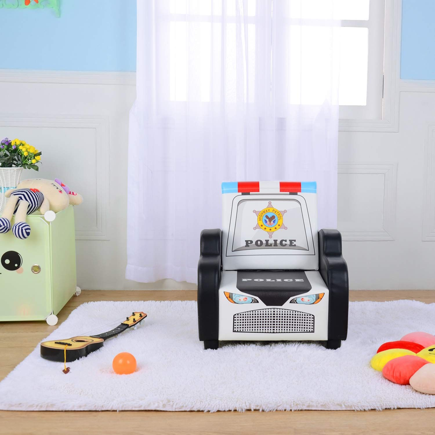 Childrena S Police Car Shape Sofa Chair Black Kida S