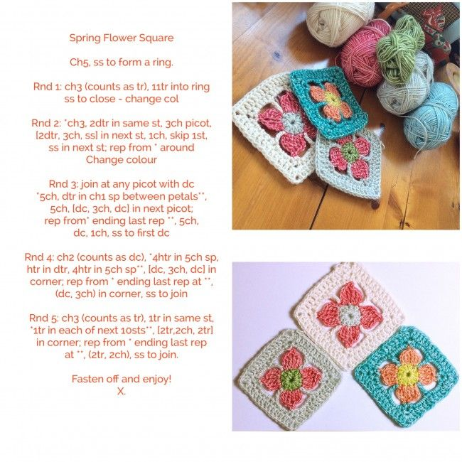 Spring flower granny square | Made with Loops, thanks so for sharing ...