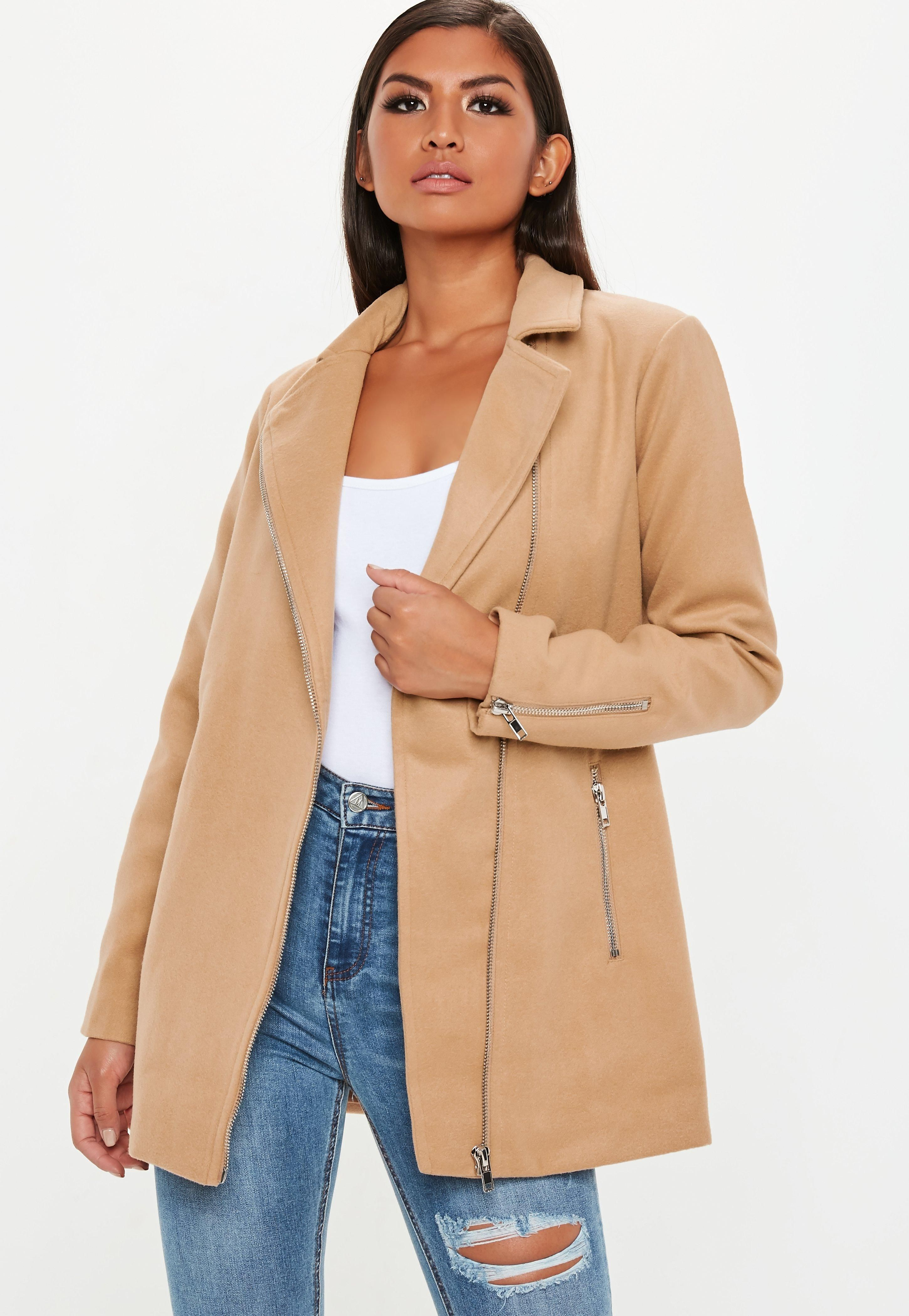 brownfauxwoolbikercoat Coats jackets women, Biker