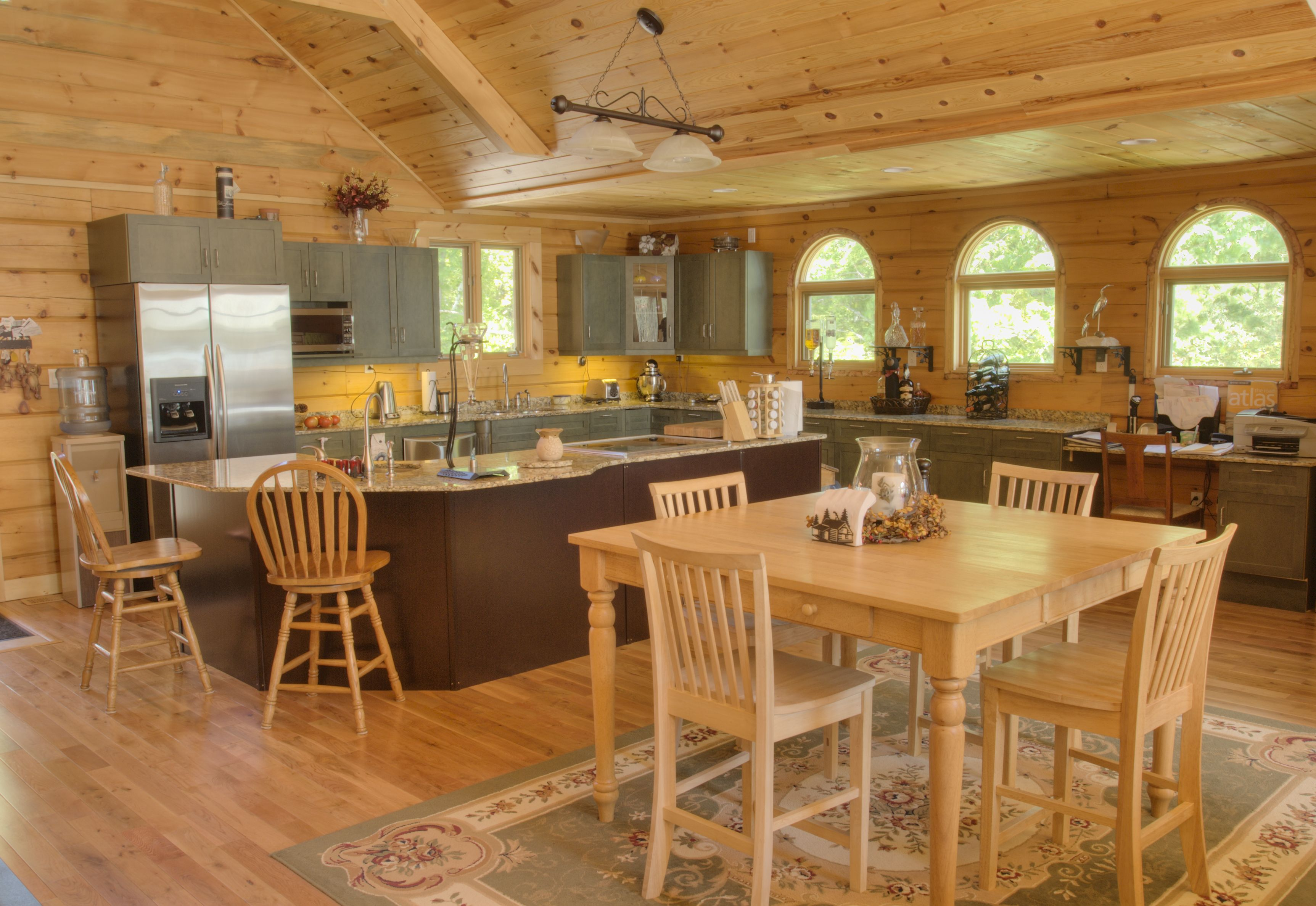Beautiful Discovery Dream Homes Timber Frame Kitchen in our Pine Villa Home  #Kitchen #PineVilla #Log #TimberFrame #Custom #DiscoveryDreamHomes