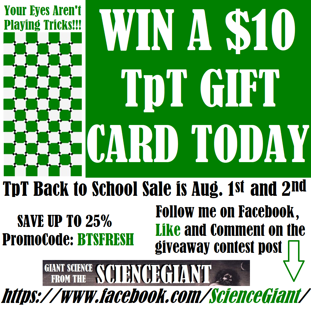 Gift Card Giveaway! One ScienceGiant Follower On Facebook