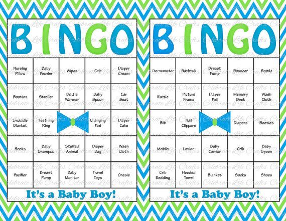60 baby shower bingo cards little man bowtie theme diy printable party for boy