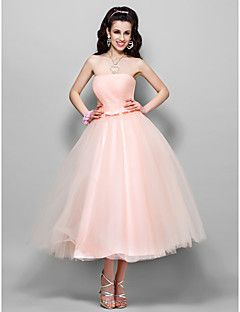 A-line Princess Strapless Tea-length Tulle Evening/Prom Dress ...