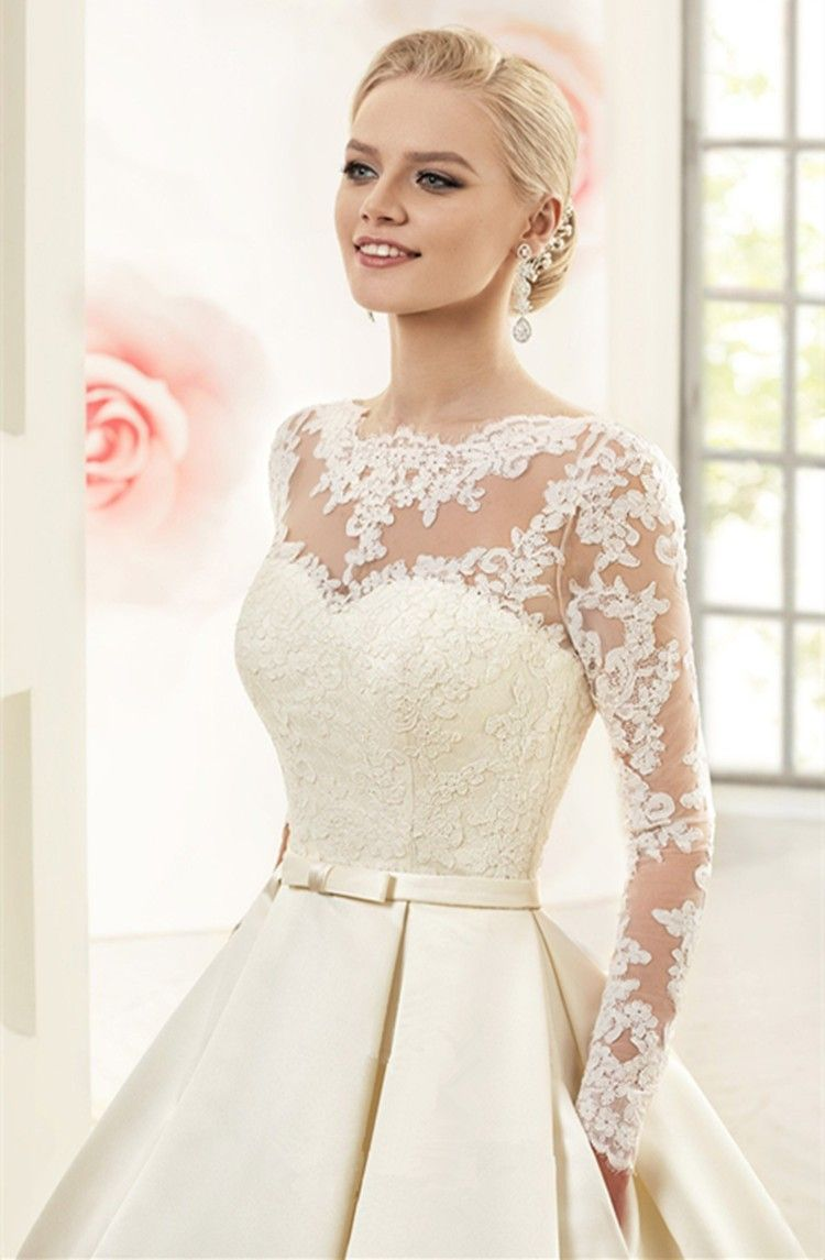 Elegant Ivory Lace Wedding Dresses Long Sleeves Soft Satin Wedding ...