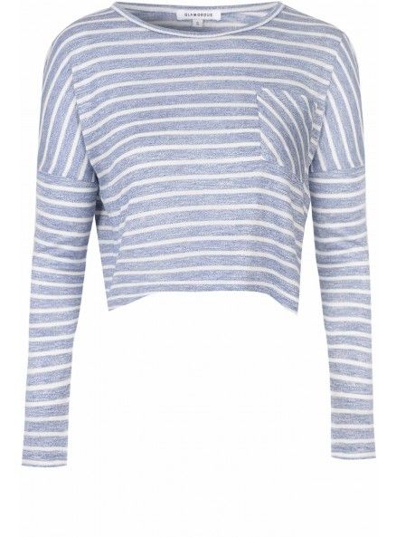 Blue And Cream Stripe Pocket Top