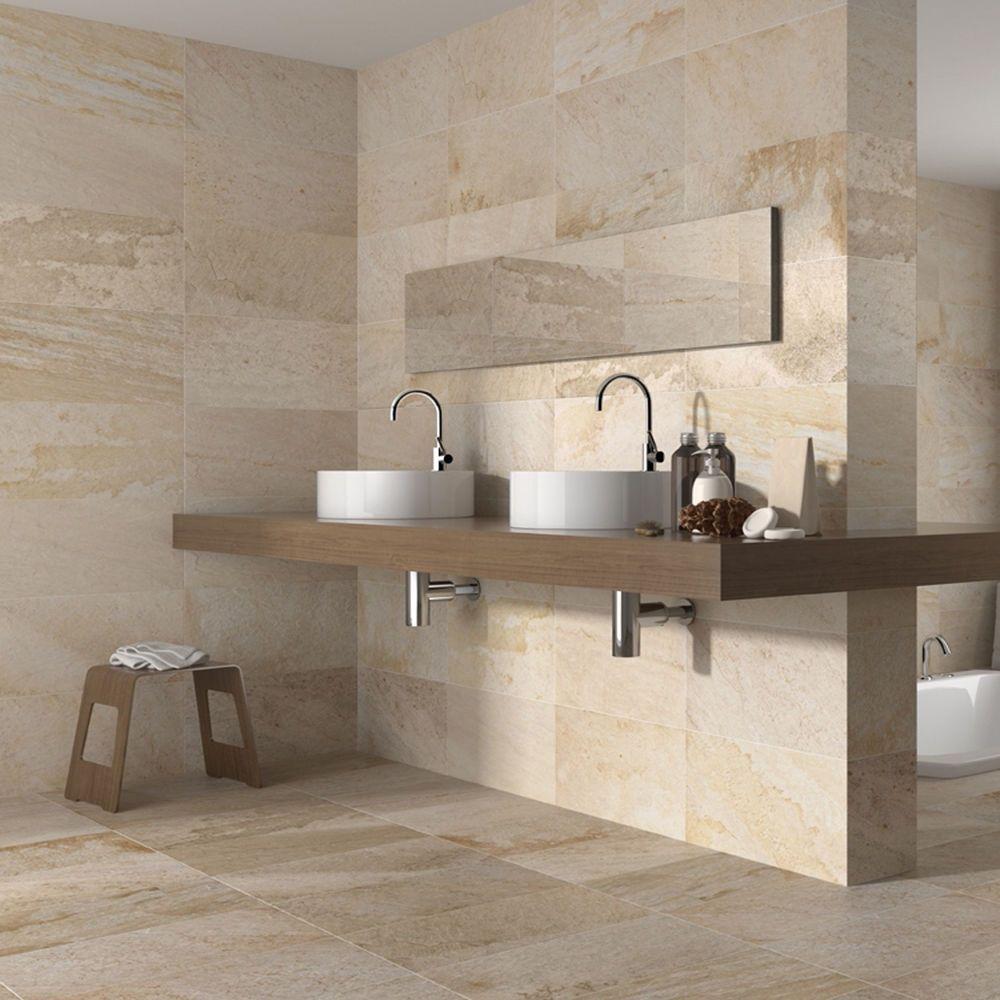 10x10cm Sample Of Matt Cream Stone Effect Ceramic Wall And Floor Tile In 2020 Cream Bathroom Bathroom Wall Tile Beige Bathroom