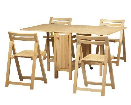 Drop Leaf Table With Folding Chairs Stored Inside Brilliant For Small Spaces Kitchen Table Settings Folding Dining Table Dining Room Furniture Sets