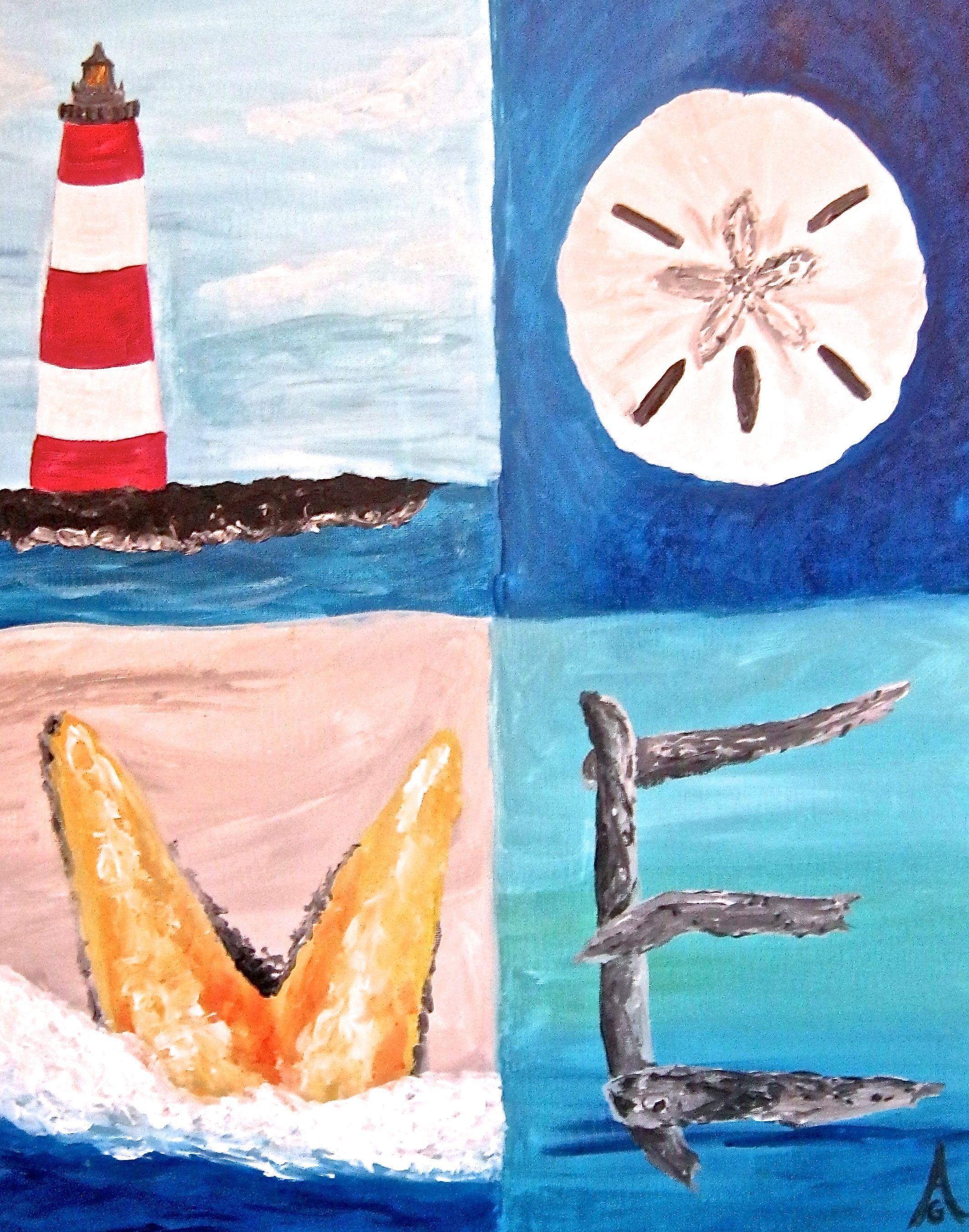 Pix For Easy Beach Paintings On Canvas Beach Painting Painting Night Painting
