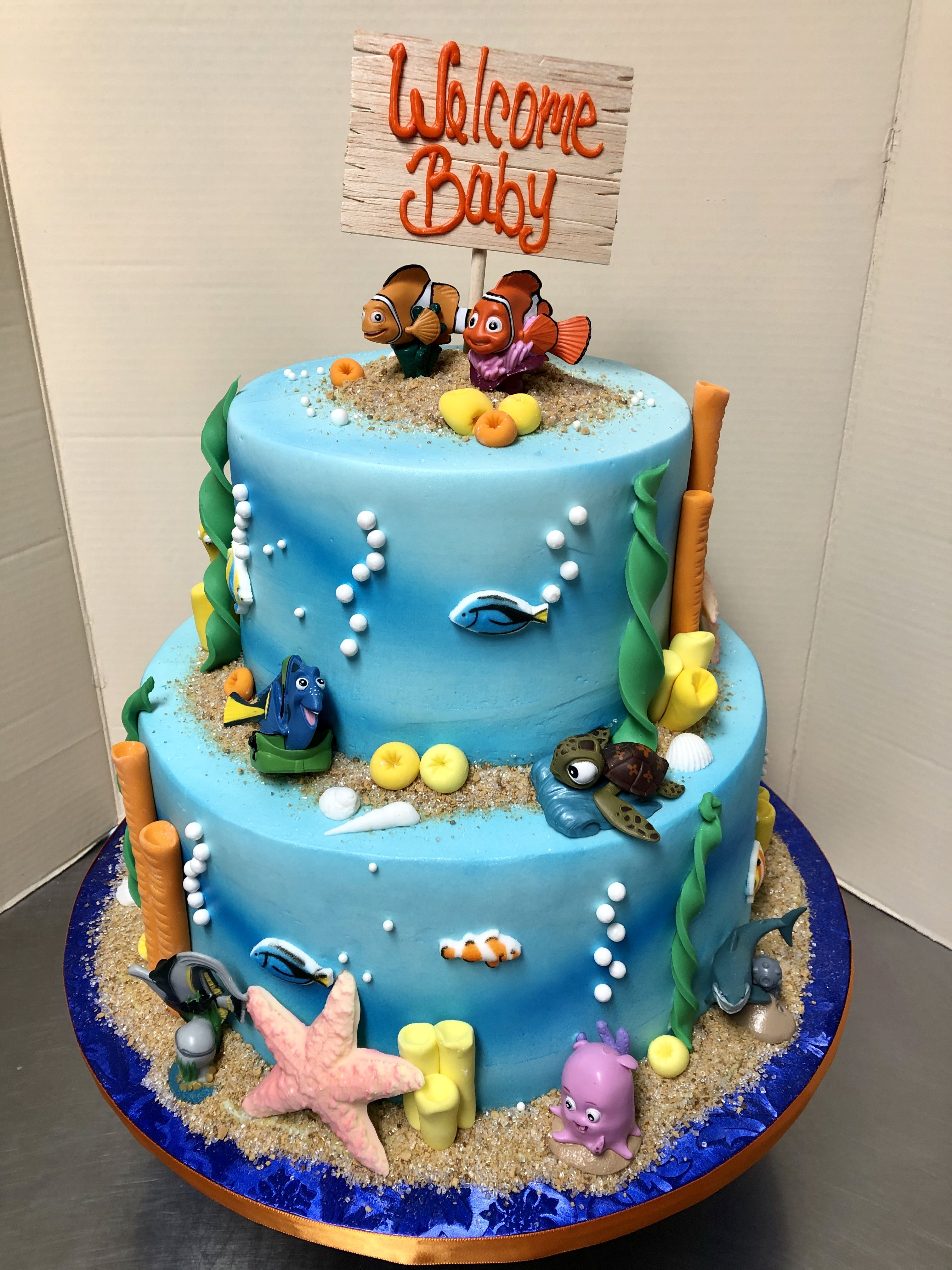 Finding Nemo Baby Shower Cake In 2020 Cake Baby Shower Cakes Shower Cakes