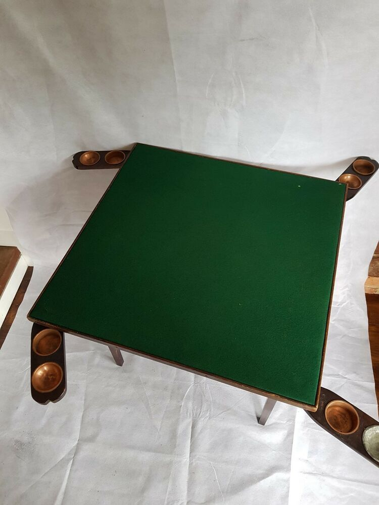 Antique 1920 S Folding Card Table Green Felt With Copper Cup Holders Poker Copper Cups Antiques Cup Holder