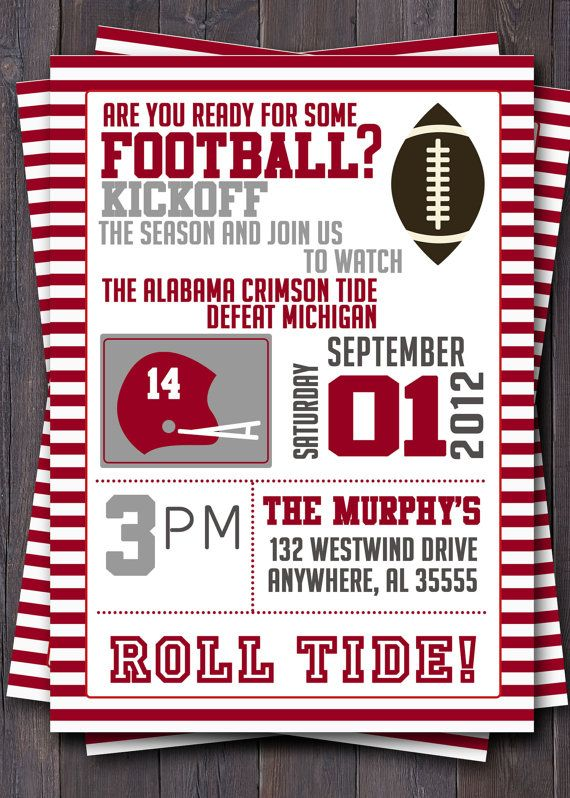 Football Or Tailgate Party Invitation Or Invite Custom With Your