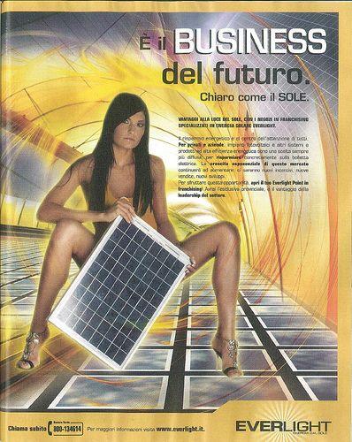 E' il business del futuro. Chiaro come il SOLE (pubblicità di tecnologie fotovoltaiche su rivista trade)