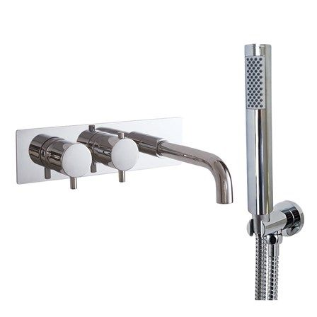 Phoenix Doccia Thermostatic Wall Mounted Bath Shower Mixer With Bath Spout Shower Handset With Bracket Bath Shower Mixer Shower Bath Wall Mounted Bath Taps