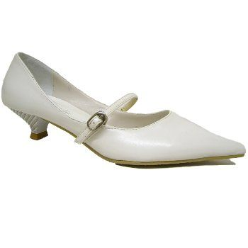 Womens White Pointy Pointed Kitten Heel Ladies Court Shoes ...