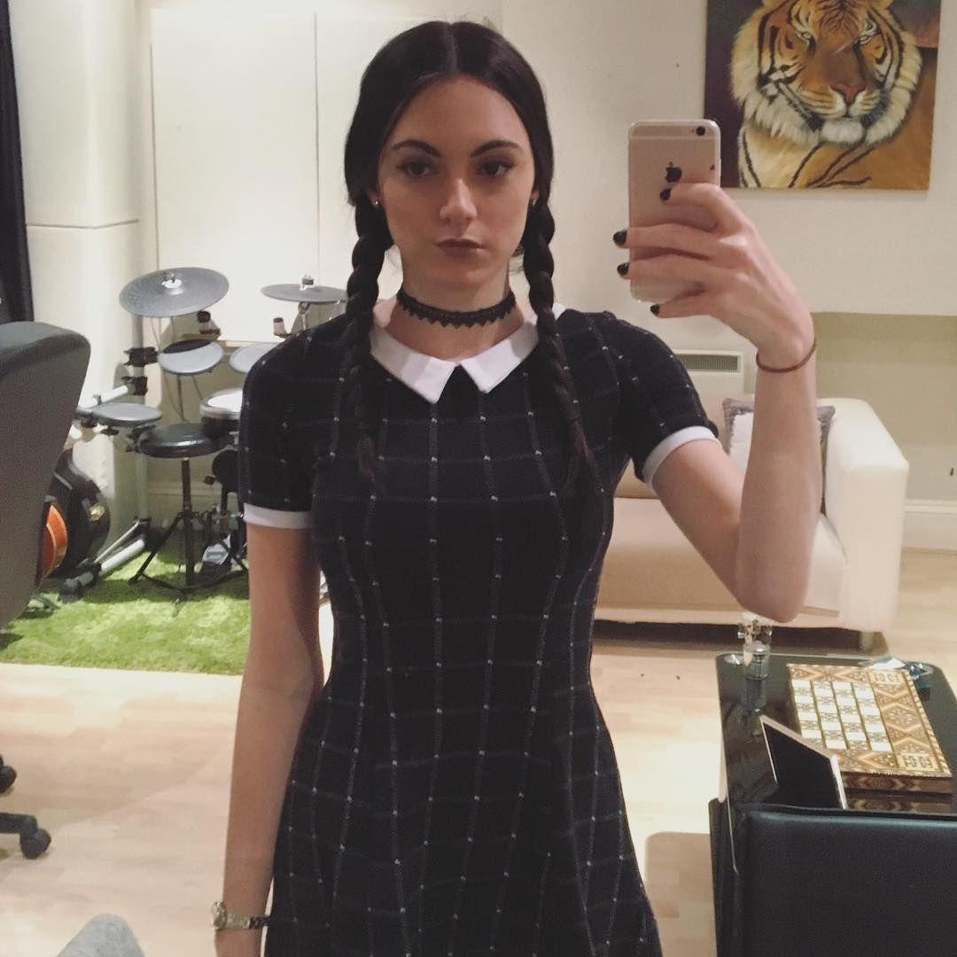 #Halloween Black Dress Creepy School Girl Adam Family Fancy Dress Woman