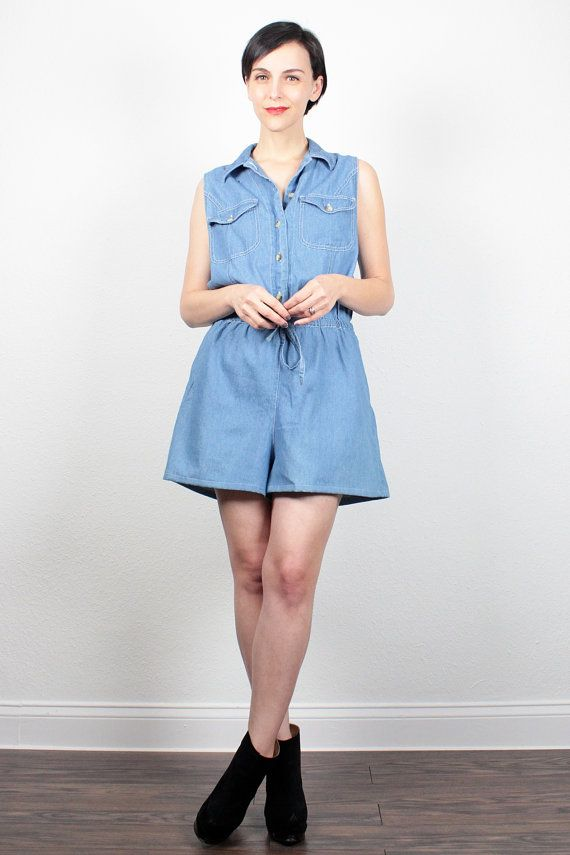 7f91d1a098f3 Vintage Denim Romper 1990s Jean Jumper Slouch Top Soft Grunge Romper  Chambray Playsuit Shortalls Shorts Overalls 90s Outfit L Extra Large XL by  ...