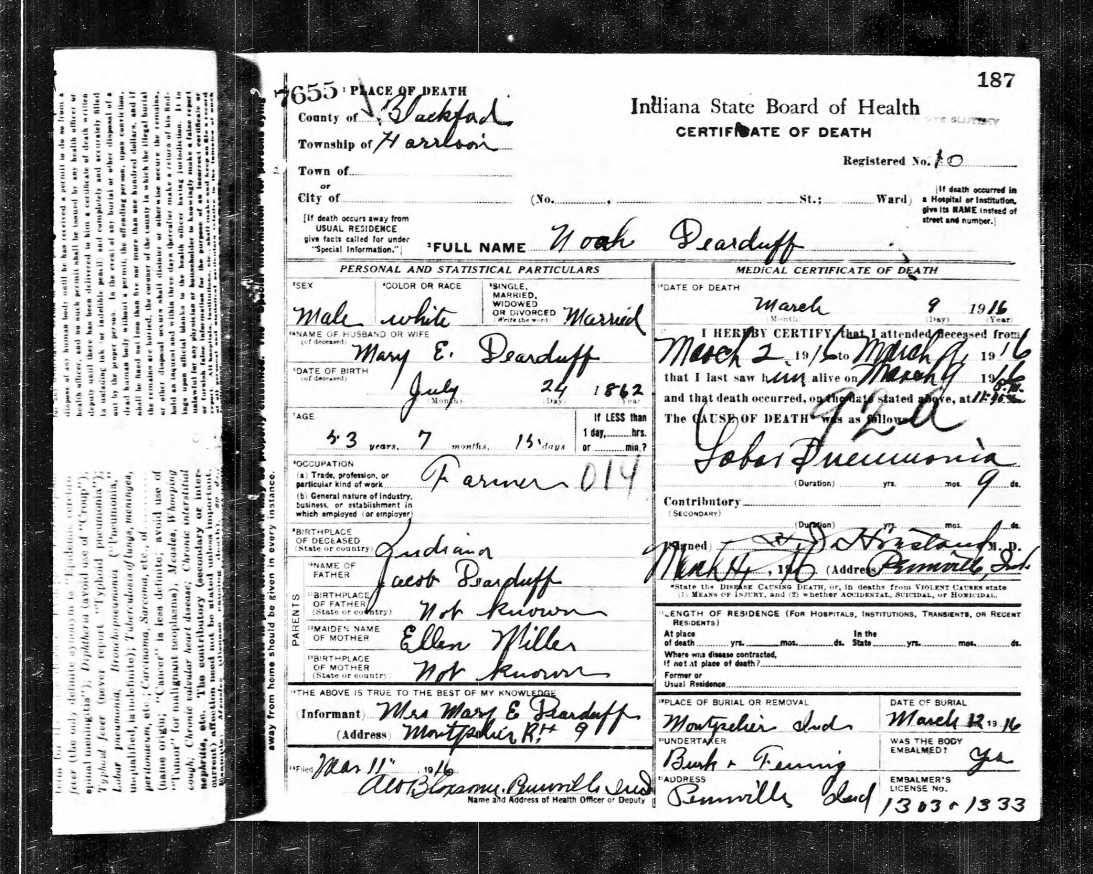 Indiana Death Certificates 1899 2011 Genealogy Pinterest