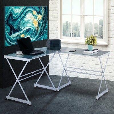 Remarkable L Shaped Glass Computer Desk White Techni Mobili In 2019 Interior Design Ideas Clesiryabchikinfo