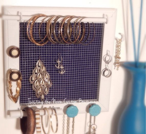 Nautical jewelry organizer wall hanging earring by TwistingTheNorm