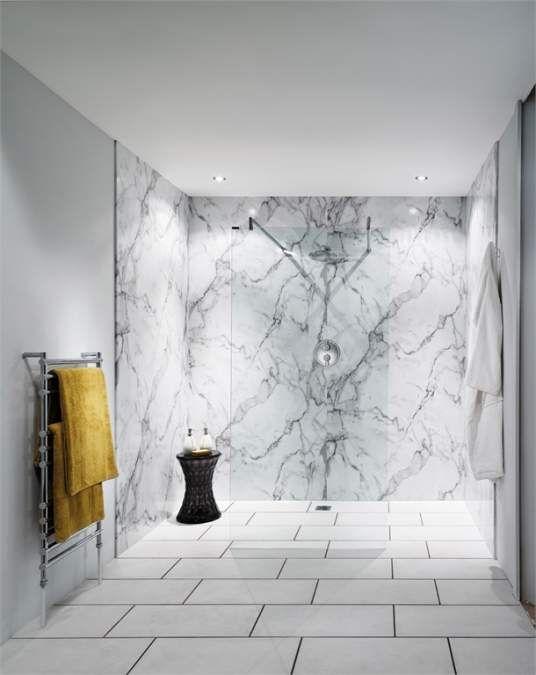 Nuance Bb Waterproof Shower Board Calacatta Marble Bathroom