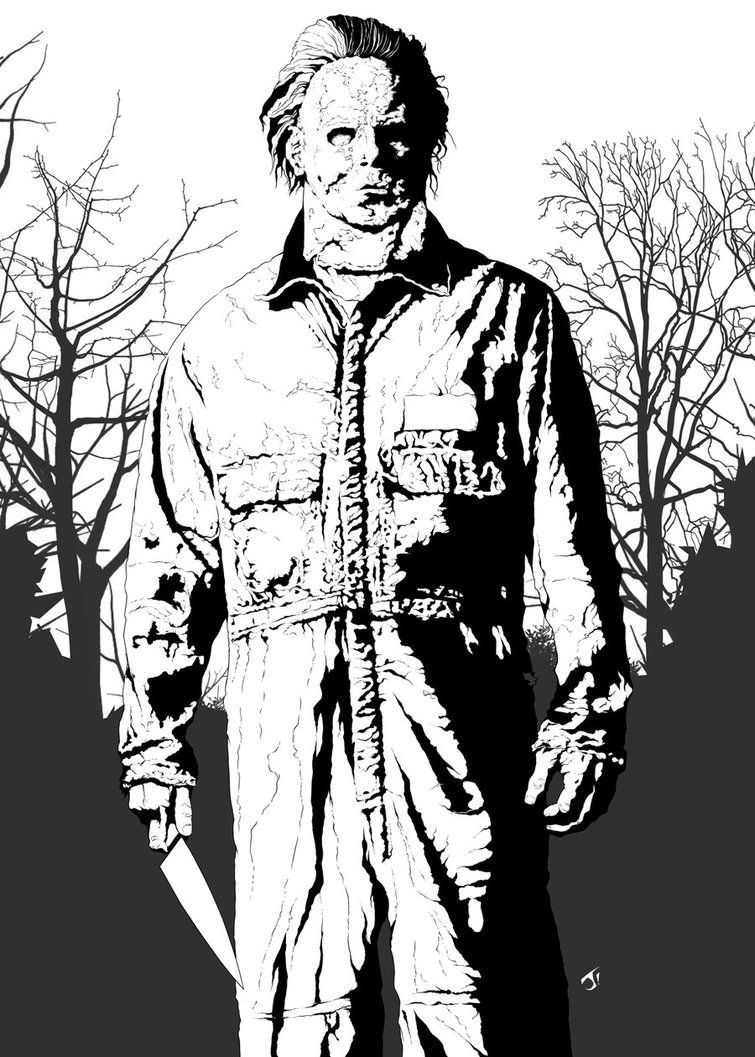 horror coloring pages - halloween 1 new michael myers michael myers by jayodjick