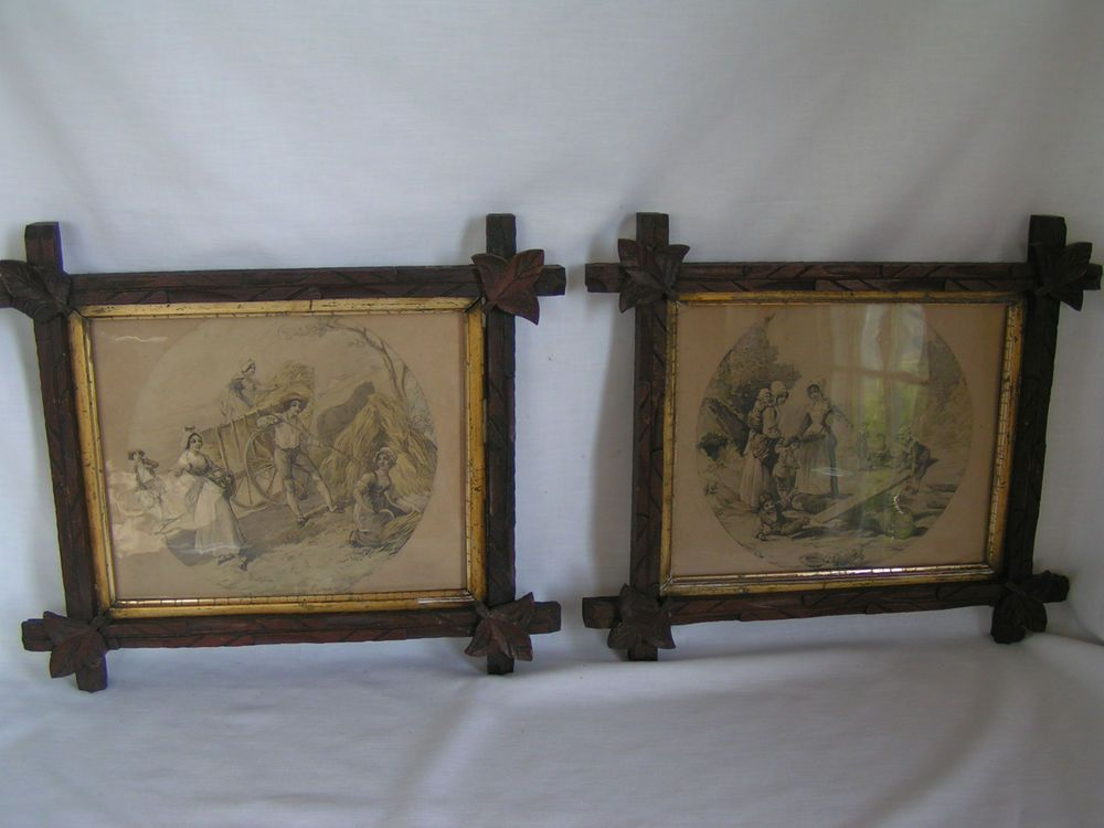 Primitive Antique Adirondack Criss Cross Picture Frames Pair W/Early ...
