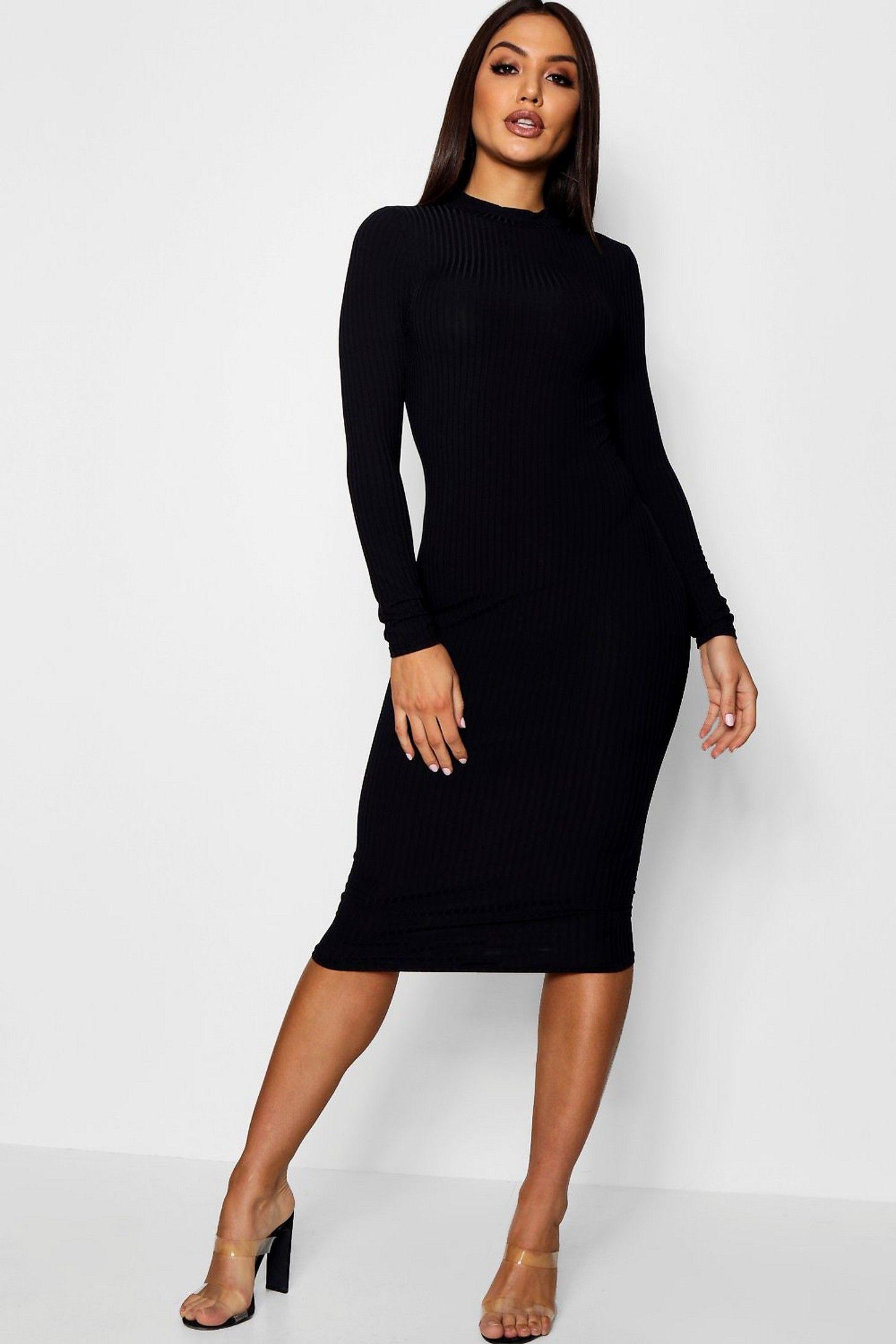 Ribbed High Neck Long Sleeved Midi Dress boohoo in 2020