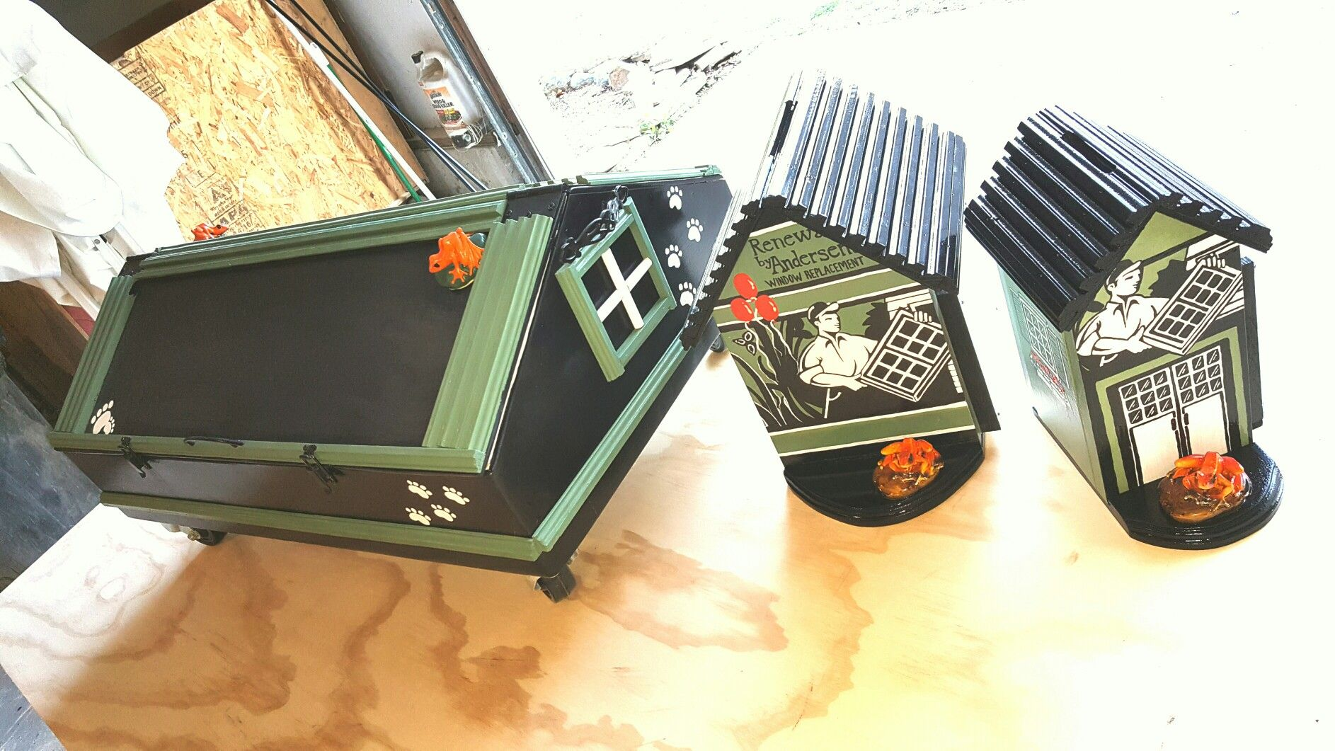 Custom Contest Boxes and Doghouse Carryall w/ chalkboard for kids. Made for Anderson Windows & Doors.