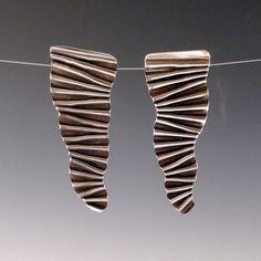 crinkle earrings in recycled sterling silver by markaplan on Etsy