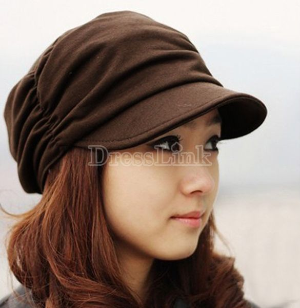 Women Knitted Hat Warm Ski Beret Beanie Cap Pleated Layers Peaked Cabbie Hat