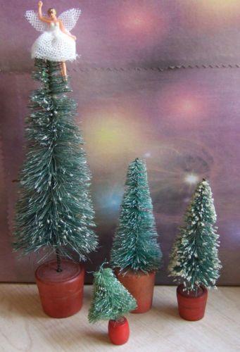 Vintage mini Bottle Brush Christmas Trees x 4 + tiny Fairy