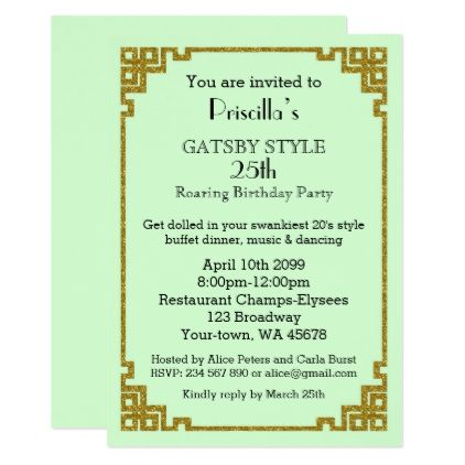 25thBirthday Party Gatsby Style Mint Gold Card