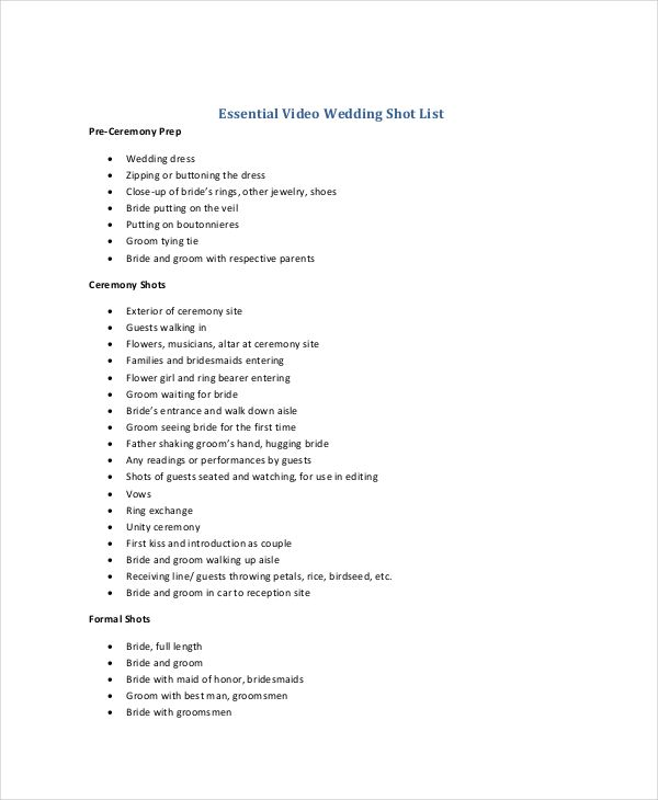 Essential Elements To Be Involved In Shot List Template Making Wedding Shot List List Template Wedding Photo Checklist